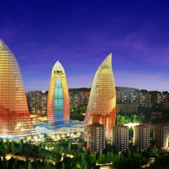 Flame Towers Baku - Evening